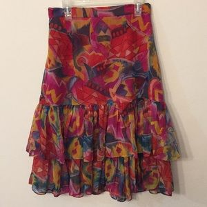 Vintage Colorful midi ruffles skirt